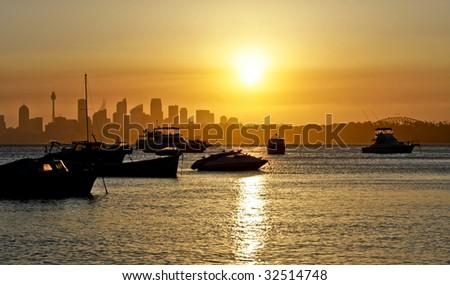 Sydney Skyline Sunset - stock photo