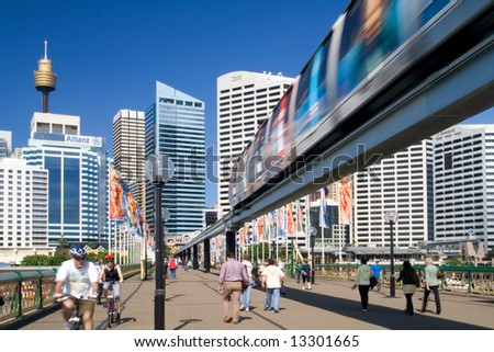 Sydney street view with Monorail and the Sydney Tower - stock photo