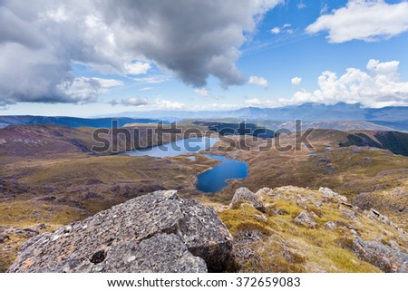 Sylvester Lakes in Tasman Mountains of Kahurangi National Park, South Island of New Zealand - stock photo