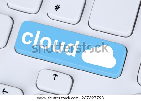 Symbol cloud computing online on internet cyberspace computer keyboard - stock photo