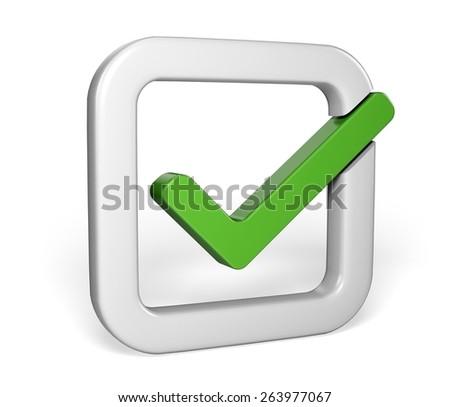 Symbol. 3D. Green Check Mark - stock photo