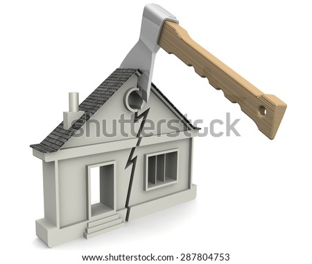 Symbol home split with an ax. The concept of the division of property. - stock photo