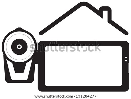 symbol home video - video-camera and house silhouette with space for text - stock photo