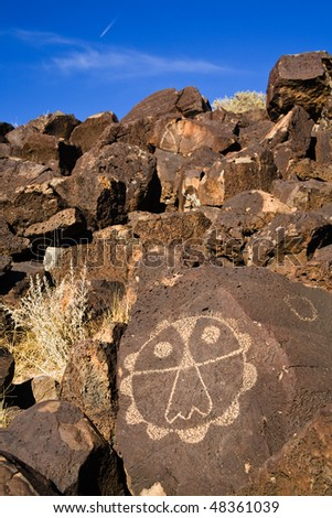 Symbol in desert, Petroglyph National Park, New Mexico - stock photo