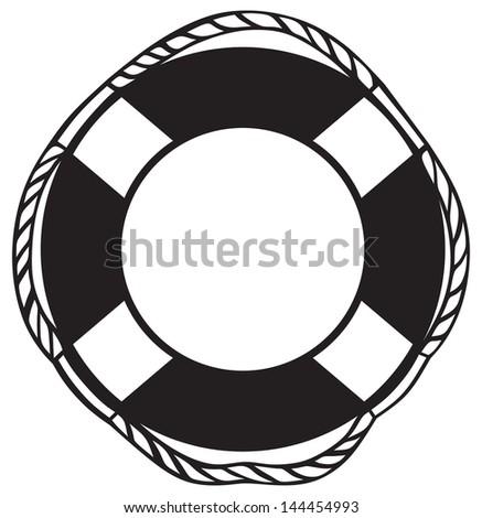 Symbol lifebuoy isolated on white. Raster version - stock photo