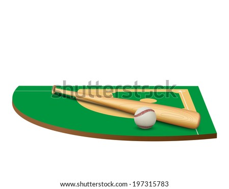 Symbol of a baseball game and field in three-dimensional space. Bitmap copy. - stock photo