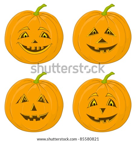 symbol of a holiday of Halloween: a pumpkin Jack O Lantern, isolated on white, set - stock photo