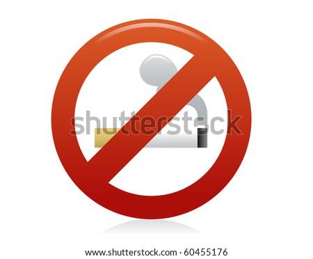 Symbol of Bevel No Smoking Zone Sign isolated on White - stock photo