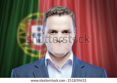 Symbol of censorship and freedom of speech: a young man without a mouth on a background of the national flag of Portugal - stock photo