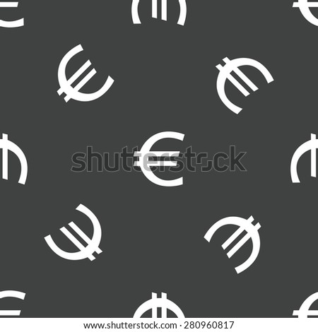 Symbol of euro repeated on grey background - stock photo