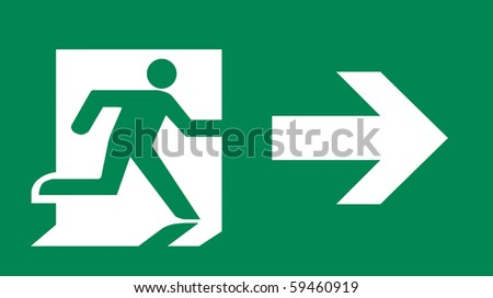 Symbol of Fire Exit Sign with Arrow isolated on Green Head Right - stock photo