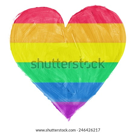 Symbol of gay,lesbian love isoloated on pure white background - stock photo