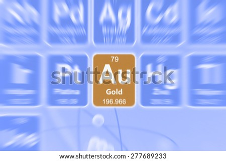 Symbol of gold on the periodic table of elements. Motion effect. - stock photo
