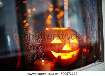 Symbol of halloween in window - stock photo