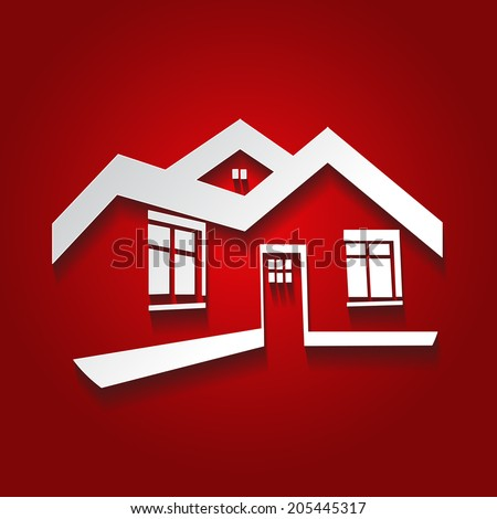 symbol of home, house icon, realty silhouette, real estate  - stock photo