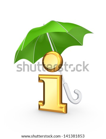 Symbol of info under green umbrella.Isolated on white.3d rendered. - stock photo