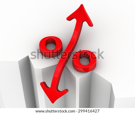 Symbol of interest rate changes is at the precipice. Financial concept - stock photo