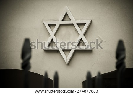 Symbol of Jewish star, the old Jewish synagogue. - stock photo