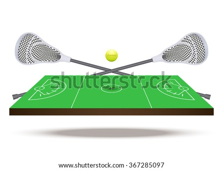 Symbol of lacrosse game. Sticks and ball on field in three-dimensional space.  illustration. - stock photo