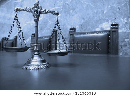 Symbol of law and justice, law and justice concept, BLUE TONE - stock photo
