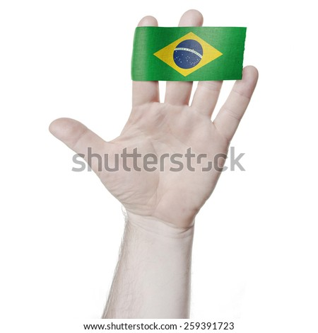 Symbol of national honor: the open palm of the hand with the flag of  Brazil - stock photo