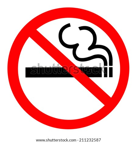 Symbol of No Smoking Zone Sign isolated on White Background - stock photo
