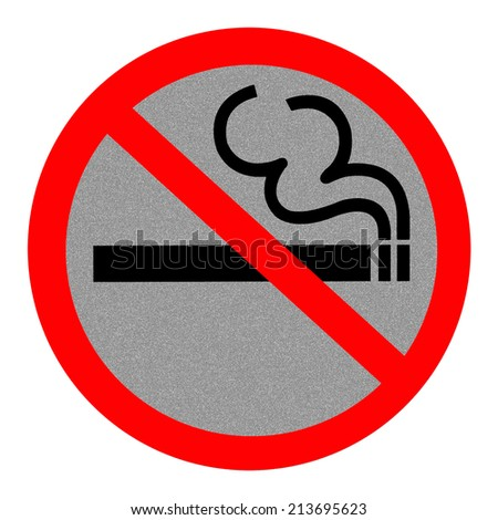 Symbol of No Smoking Zone Sign with Reflection Background - stock photo