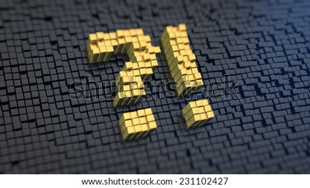Symbol of perplexity of the yellow square pixels on a black matrix background - stock photo