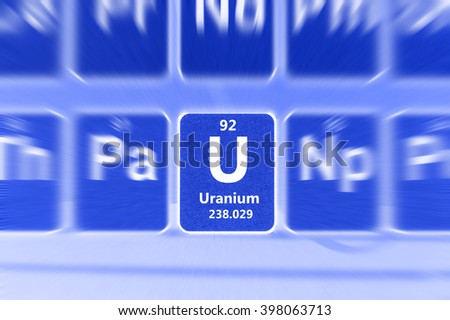 Symbol of radioactive Uranium chemical element on the periodic table of elements. Motion effect. - stock photo