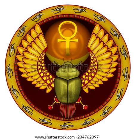 Symbol of the god the sacred solar bug a scarab in 3d - stock photo