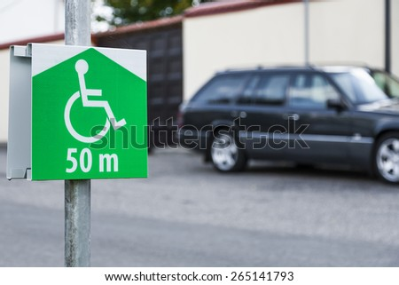 Symbol of the parking lot, no parking on site for a disabled person.  - stock photo