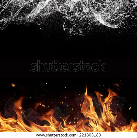 Symbol of water and fire energy, isolated on black background - stock photo