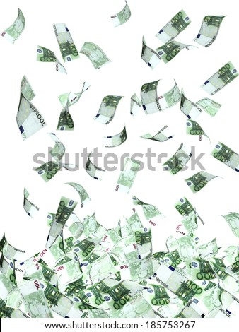 Symbol of wealth and success - rain from euro banknotes. Isolated on white background - stock photo
