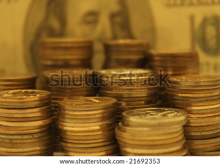 Symbol of wealth - many gold coins - stock photo