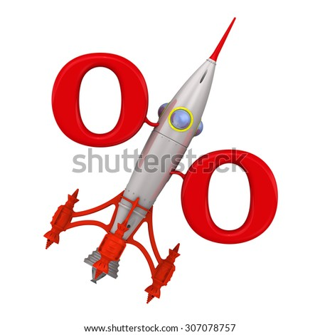 Symbol profitable (growing) percentage from the rocket directed upwards. Isolated. Financial concept - stock photo