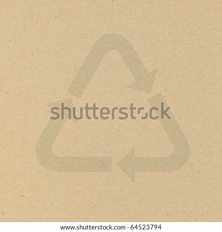 Symbol recycle on cardboard - stock photo