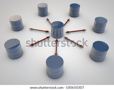 Symbolic Data Exchange between Databases symbolyzed by red arrows - stock photo
