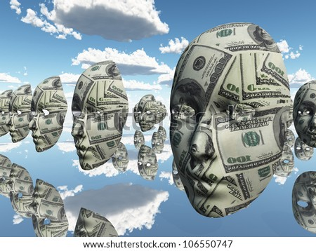 Symbolic floating faces with sureface of USA Currency - stock photo