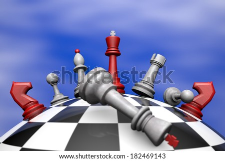 Symbolic frame (political upheaval). Chess on the chess globe. 3D image.  - stock photo