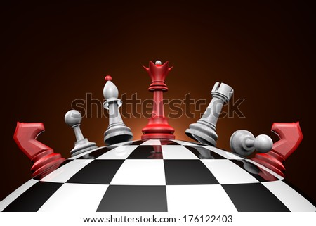 Symbolic frame (political upheaval). Chess pieces on a chess field.   - stock photo