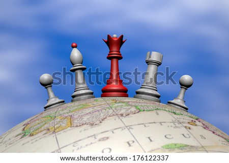 Symbolic frame (temporary peace). Chess pieces on a globe.  - stock photo