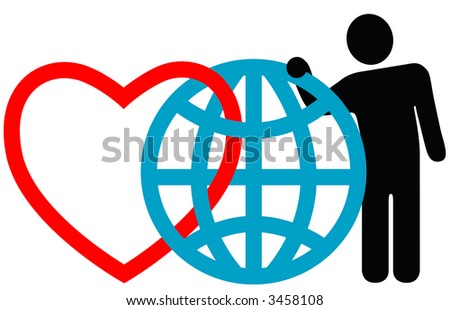 "Symbolic friends (heart, globe, man) pose together at the annual International Symbol Reunion. ""Love the Earth."" - stock photo"