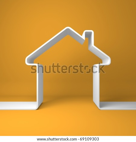 Symbolic house on the coloured background - stock photo