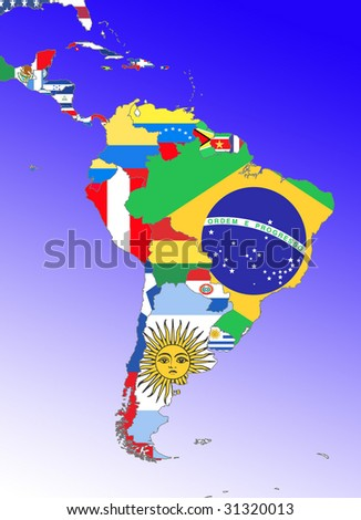 symbolic image: Latin America: South America, Middle America: outline and flags - stock photo