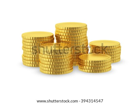 Symbolic image of gold coins with no signs. - stock photo