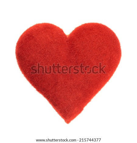 Symbolic plush red heart isolated over the white background - stock photo