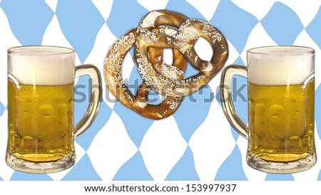 Symbolic representation of Oktoberfest, famous beer festival in Munich: the Bavaria colors and pattern, pretzels and beer. Skoal! - stock photo