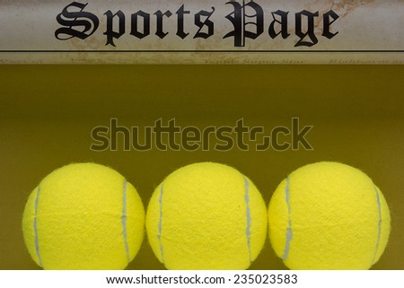 Symbolic sports page with a racket and ball for tennis. - stock photo