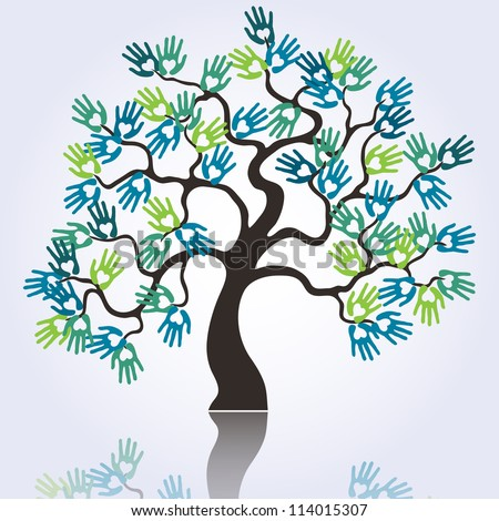 symbolic tree with colorful loving hands raster - stock photo