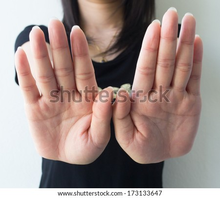 Symbolize the woman's hands. - stock photo